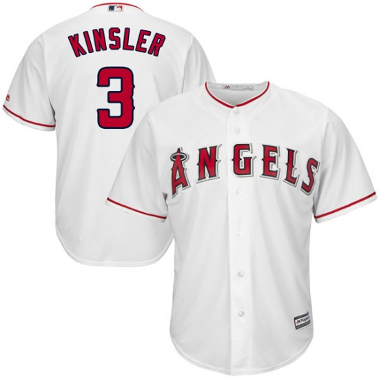 Youth Men Los Angeles Angels #3 Ian Kinsler White Cool Base Home Jersey