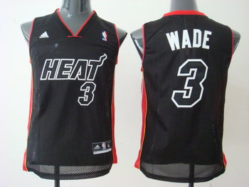 Youth Miami Heat 3 Wade black Red&Black Number Jersey