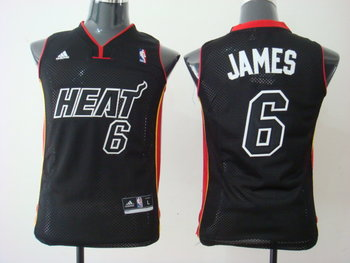 Youth Miami Heat 6 LeBron James black Red&Black Number Jersey