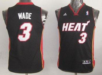 Youth NBA Miami Heat #3 Dwyane Wade Black Stitched Jersey