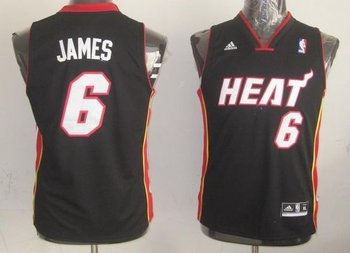 Youth NBA Miami Heat #6 LeBron James Black Stitched Jersey