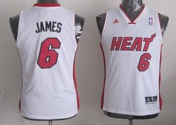 Youth NBA Miami Heat #6 LeBron James White Stitched Jersey