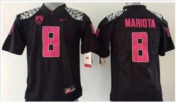 Youth NCAA Ducks #8 Marcus Mariota Black(Pink NO.) Stitched Jersey
