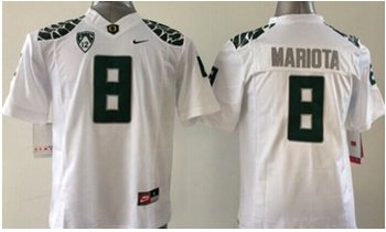 Youth NCAA Ducks #8 Marcus Mariota White Limited Stitched Jersey