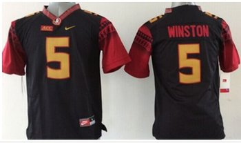 Youth NCAA Seminoles #5 Jameis Winston Black Limited Stitched Jersey