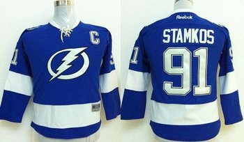 Youth NHL Tampa Bay Lightning #91 Steven Stamkos Royal Blue Jersey