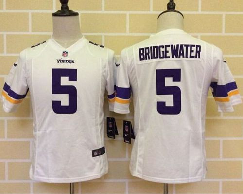 Youth New Vikings #5 Teddy Bridgewater White Stitched NFL Elite Jersey