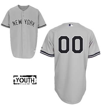 Youth New York Yankees Road Gray Authentic Customized Baseball Jersey