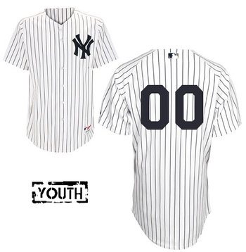 Youth New York Yankees White Strips Authentic Customized Baseball Jersey