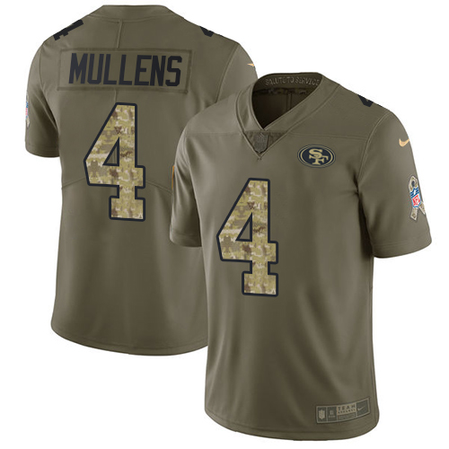Youth Nike 49ers #4 Nick Mullens Olive Camo Youth Stitched NFL Limited 2017 Salute to Service Jersey