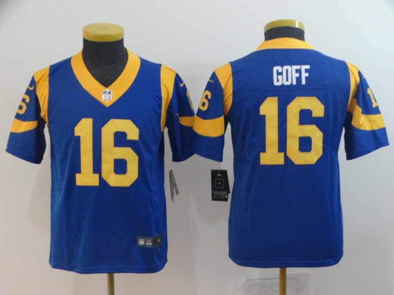 Youth Nike Rams 16 Jared Goff Royal Youth Vapor Untouchable Limited Jersey