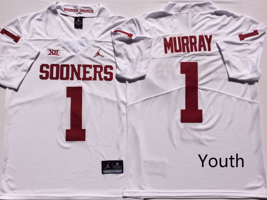 Youth Oklahoma Sooners 1 Kyler Murray White Youth College Football Jersey