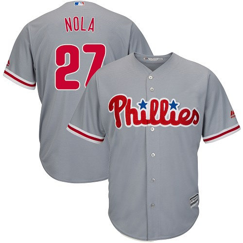 Youth Philadelphia Phillies #27 Aaron Nola Replica Grey Road Cool Base MLB Jersey
