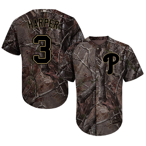 Youth Phillies #3 Bryce Harper Camo Realtree Collection Cool Base Stitched Youth Baseball Jersey