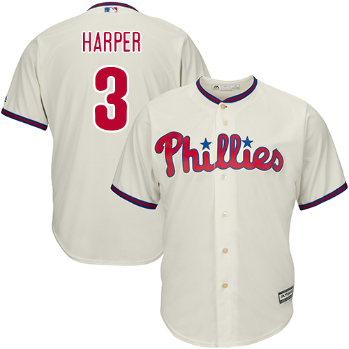 Youth Phillies #3 Bryce Harper Cream Cool Base Stitched Youth Baseball Jersey