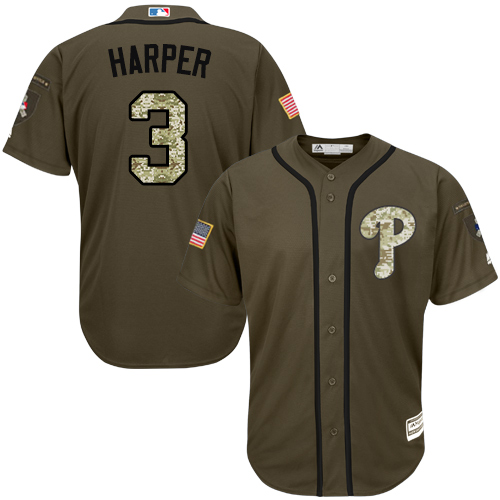 Youth Phillies #3 Bryce Harper Green Salute to Service Stitched Youth Baseball Jersey