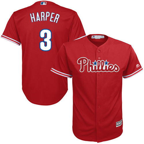 Youth Phillies #3 Bryce Harper Red Cool Base Stitched Youth Baseball Jersey