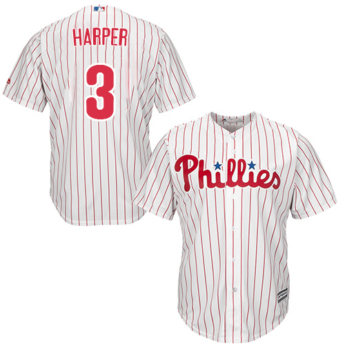 Youth Phillies #3 Bryce Harper White(Red Strip) Cool Base Stitched Youth Baseball Jersey