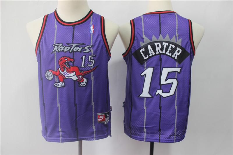 Youth Raptors 15 Vince Carter Purple Youth Swingman Jersey