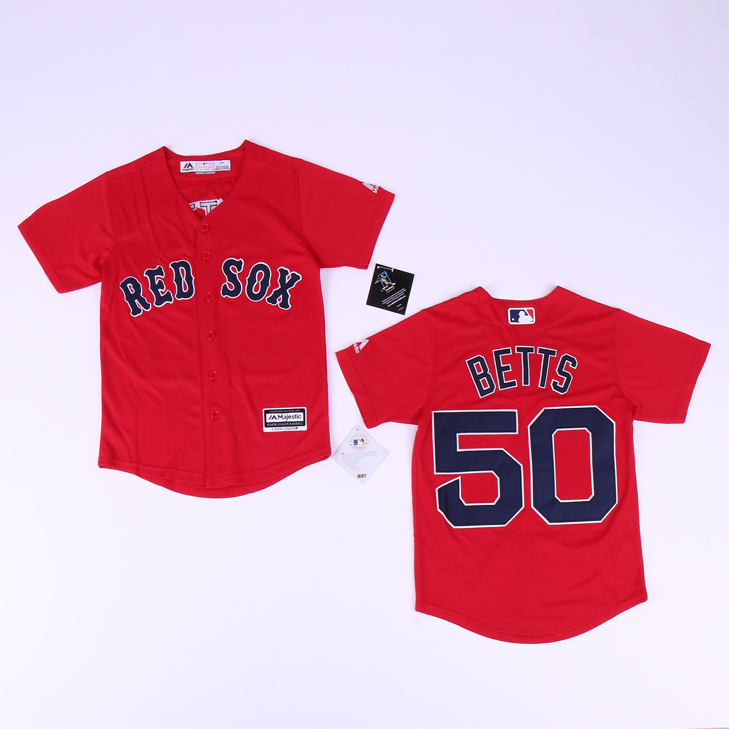 Youth Red Sox 50 Mookie Betts Red Youth Cool Base Jersey