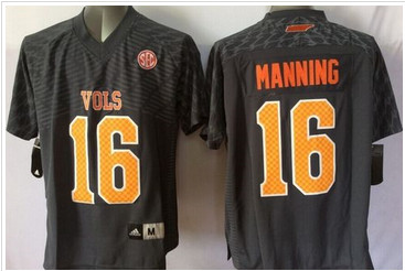 Youth Tennessee Vols #16 Peyton Manning Black Stitched NCAA Jersey