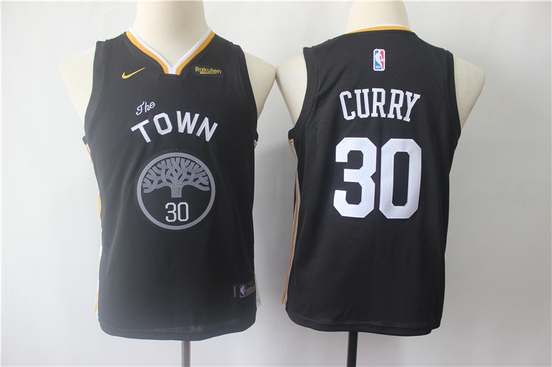 Youth Warriors 30 Stephen Curry Black Youth Statement Edition Nike Swingman Jersey