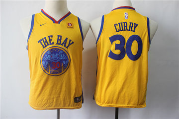 Youth Warriors 30 Stephen Curry Gold City Edition Youth Nike Swingman Jersey