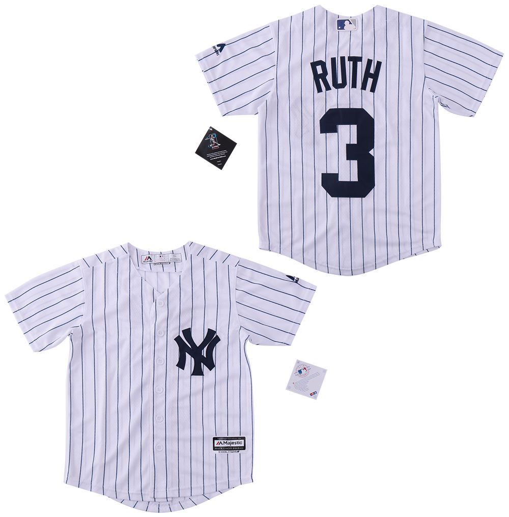 Youth Yankees 3 Babe Ruth White Cool Base Jersey