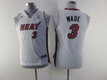 Youth nba Miami Heat 3 Dwyane Wade white(revolution 30 swingman)