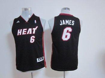 Youth nba Miami Heat 6 LeBron James black(revolution 30 swingman)