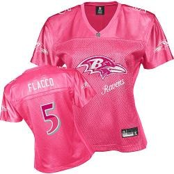 baltimore ravens #5 flacco pink fem fan women jerseys