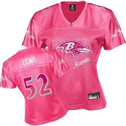 baltimore ravens #52 lewis pink fem fan women jerseys
