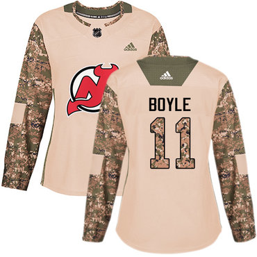 didas Devils #11 Brian Boyle Camo Authentic 2017 Veterans Day Women's Stitched NHL Jersey