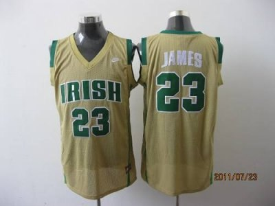 fighting irish #23 lebron james earth yellow basketball embroidered ncaa jersey