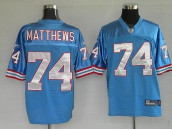 houston oilers 74 matthews blue jerseys