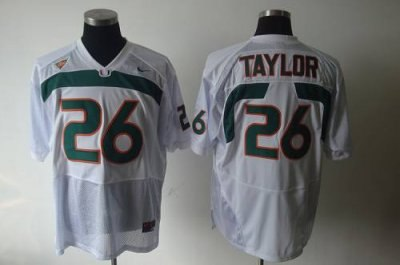 hurricanes #26 sean taylor white embroidered ncaa jerseys