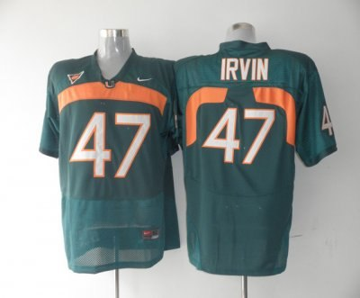 hurricanes #47 michael irvin green embroidered ncaa jerseys