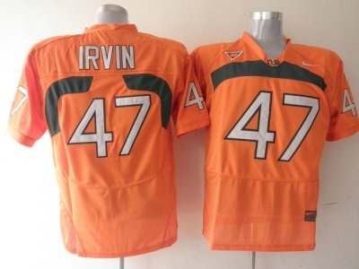 hurricanes #47 michael irvin orange embroidered ncaa jerseys