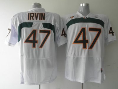 hurricanes #47 michael irvin white embroidered ncaa jerseys