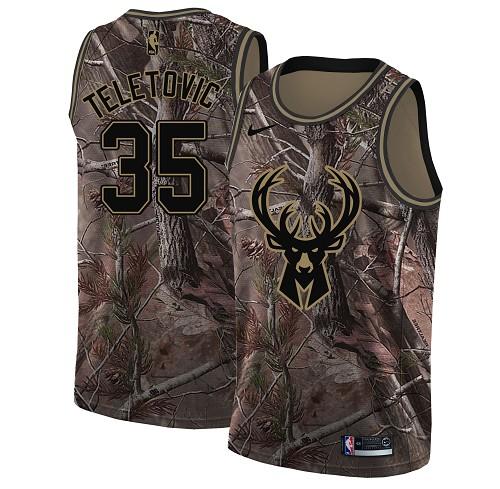 ike Bucks #35 Mirza Teletovic Camo Women's NBA Swingman Realtree Collection Jersey