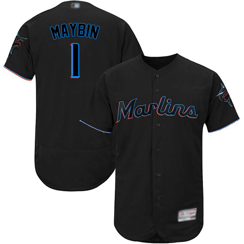 marlins #1 Cameron Maybin Black Flexbase Authentic Collection Stitched Baseball Jersey