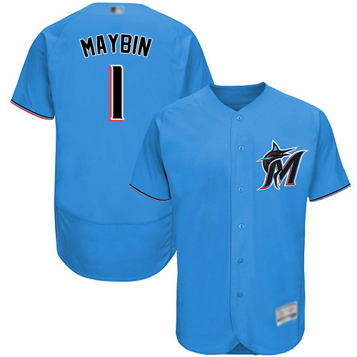 marlins #1 Cameron Maybin Blue Flexbase Authentic Collection Stitched Baseball Jersey