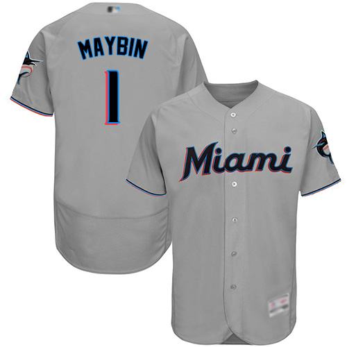 marlins #1 Cameron Maybin Grey Flexbase Authentic Collection Stitched Baseball Jersey