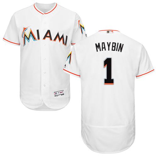 marlins #1 Cameron Maybin White Flexbase Authentic Collection Stitched Baseball Jersey
