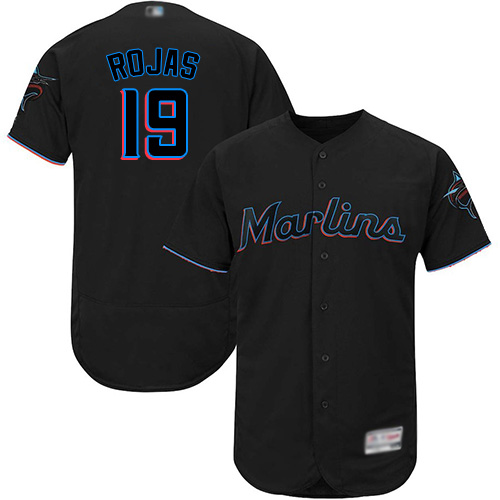 marlins #19 Miguel Rojas Black Flexbase Authentic Collection Stitched Baseball Jersey
