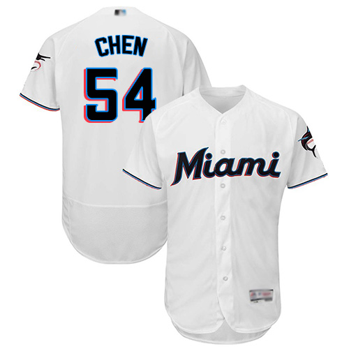 marlins #54 Wei-Yin Chen White Flexbase Authentic Collection Stitched Baseball Jersey