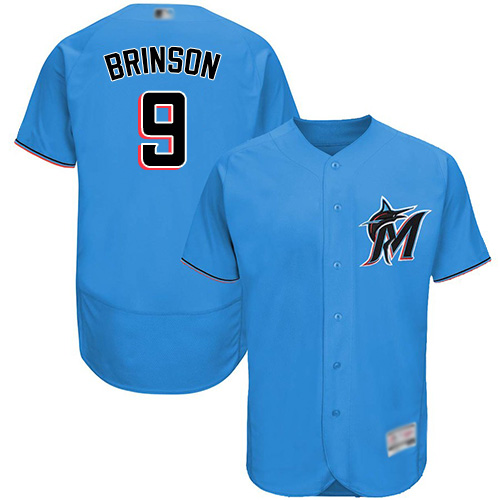 marlins #9 Lewis Brinson Blue Flexbase Authentic Collection Stitched Baseball Jersey