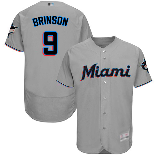 marlins #9 Lewis Brinson Grey Flexbase Authentic Collection Stitched Baseball Jersey