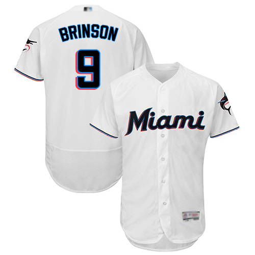 marlins #9 Lewis Brinson White Flexbase Authentic Collection Stitched Baseball Jersey