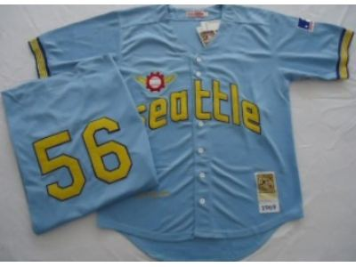 mlb seattle pilots #56 bouton m&n blue jerseys